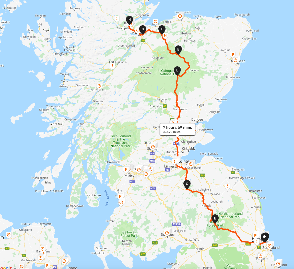 Day 1 - Newcastle - Kielder - Peebles - Breamar - Tomitoul - Ferness - Culloden Moor - Dingwall.png