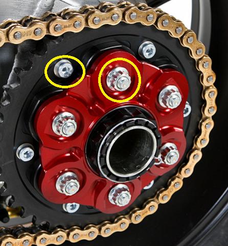 6x Gold Titanium Rear Sprocket Nuts Ducati Multistrada 1200