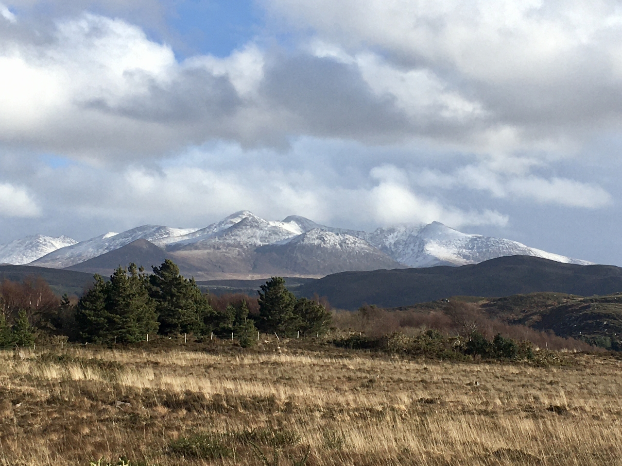 The snow capped Kerry Mountains